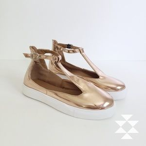 Shoes - Rose Gold T-Strap Sneakers